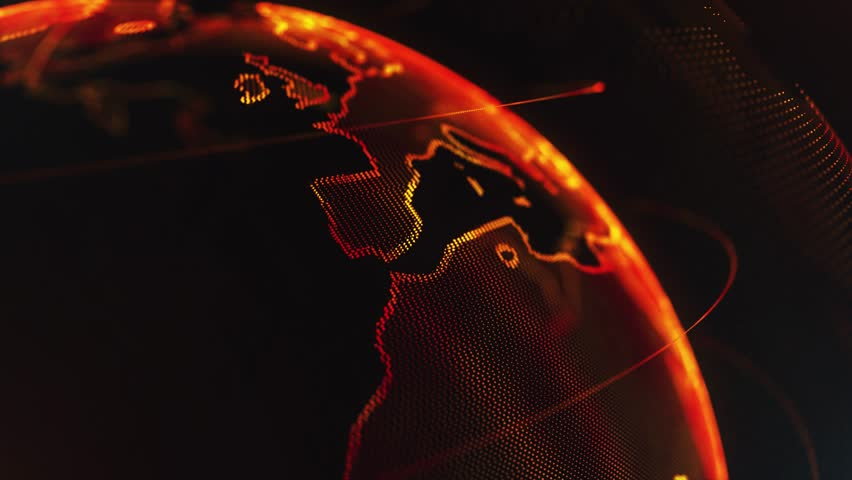 4K 3d rendering abstract globe with particles and plexus structure. Digital technology planet with continent forming. Glows and particles. | Shutterstock HD Video #1011484964