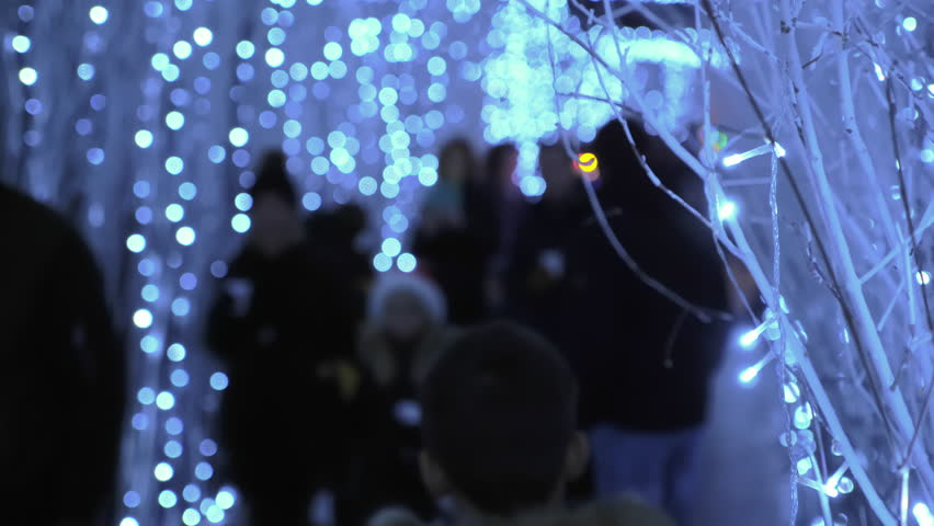 Unrecognizable people walking through illuminated passage, slow motion, close up lamps detail, anonymous crowd, festive Christmas city decoration | Shutterstock HD Video #1011501314