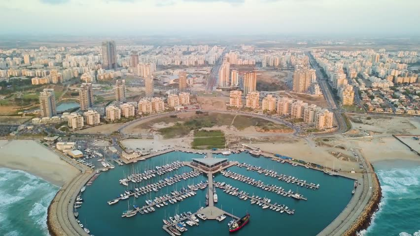 Ashdod marine aerial view 4k drone footage ungraded flat | Shutterstock HD Video #1011520964
