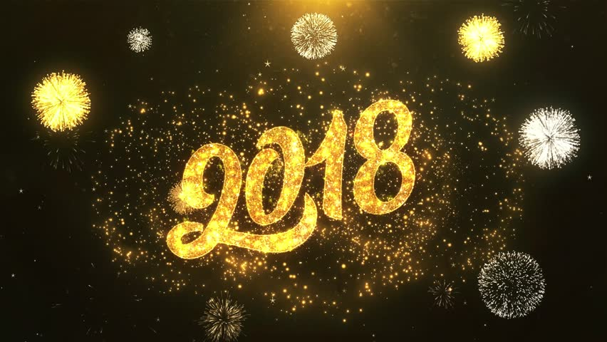 Happy New Year 2018 Greeting Card text Reveal from Golden Firework & Crackers on Glitter Shiny Magic Particles & Sparks Night star sky for Celebration, Wishes, Events, Message, holiday, festival