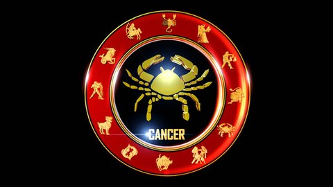 CANCER Zodiac sign   It`s Nice rotating 3d golden Zodiac sign (Indian astrology) with transparency