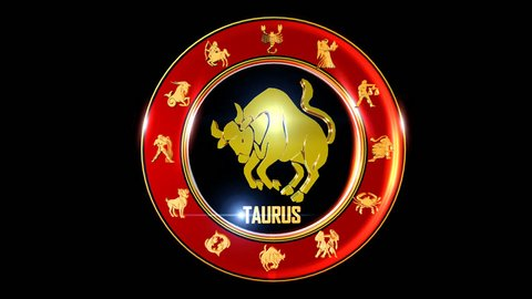 TAURUS Zodiac sign   It`s Nice rotating 3d golden Zodiac sign (Indian astrology) with transparency