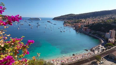 1080P Video clip of boats and cruise ship in the Bay of Villefranche Sur Mer in the Alpes Maritimes department in the Provence Alpes Cote d'Azur region on the French Riviera
