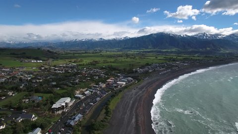 Aerial view of Kaikoura, New Zealand, post 2016 earthquake