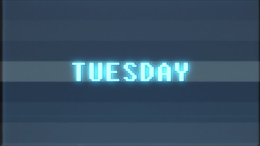 Retro videogame TUESDAY word text computer tv glitch interference noise screen animation seamless loop New quality universal vintage motion dynamic animated background colorful joyful video m | Shutterstock HD Video #1011569414