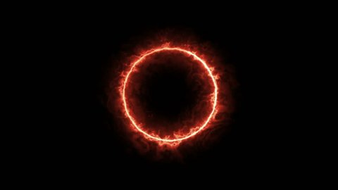 Solar Fire Ring Rotated fade in with black&white Alpha ch.  Abstract sun ring of red orange fire particle circle with alpha background.