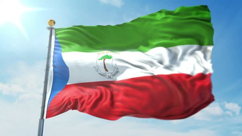 Equatorial Guinea flag seamless looping 3D rendering video. 3in1:includes isolated on green screen and alpha channel as luma matte for easy clipping in AE. Beautiful fabric loop waving in the wind