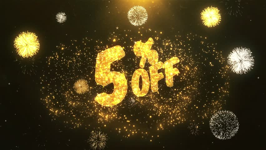 5% off Greeting Card text Reveal from Golden Firework & Crackers on Glitter Shiny Magic Particles & Sparks Night star sky for Celebration, Wishes, Events, Message, holiday, festival  | Shutterstock HD Video #1011598214