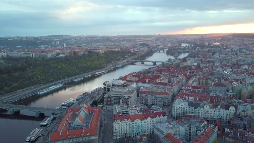 Aerial view of cityscape of Prague, Czech Republic | Shutterstock HD Video #1011603524