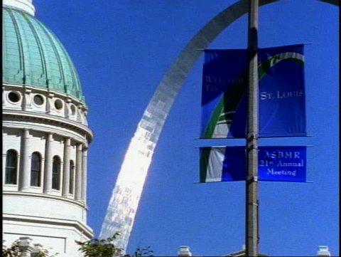 "ST. LOUIS, 1999, St. Louis Arch, with City Hall detail and banner ""welcome to St. Louis"