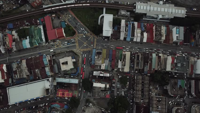 Aerial view of Jalan Pasar Pudu, Kuala Lumpur during afternoon. This footage was capture thru drone top to down angle.