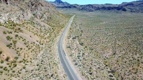 Desert Mountains with highway outside Las Vegas Nevada USA