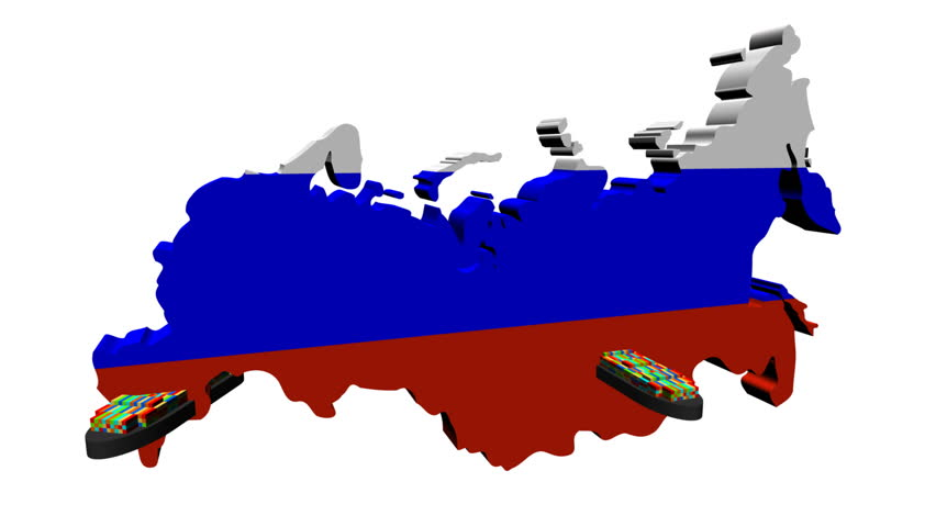 Russian Map Flag With Container Ships Departing Animation Stock
