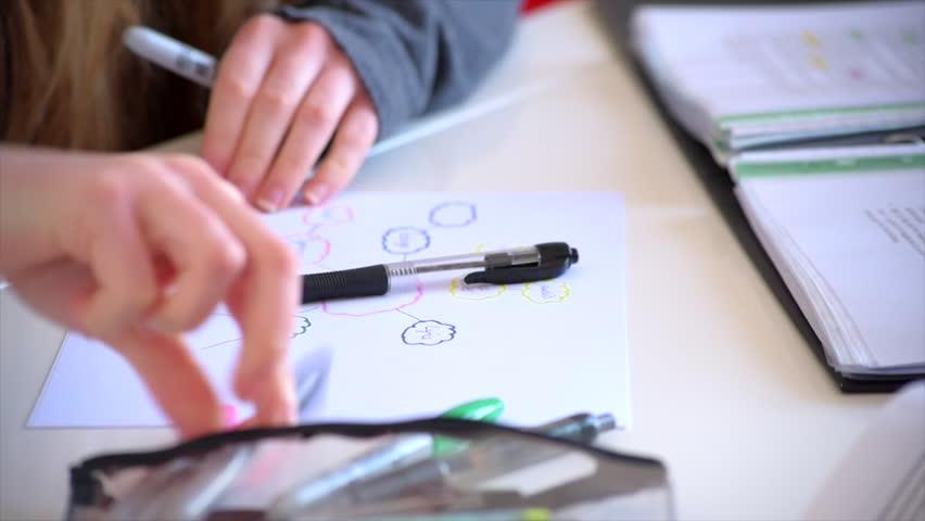 A medium tilt shot of a female student using a mind map to study.