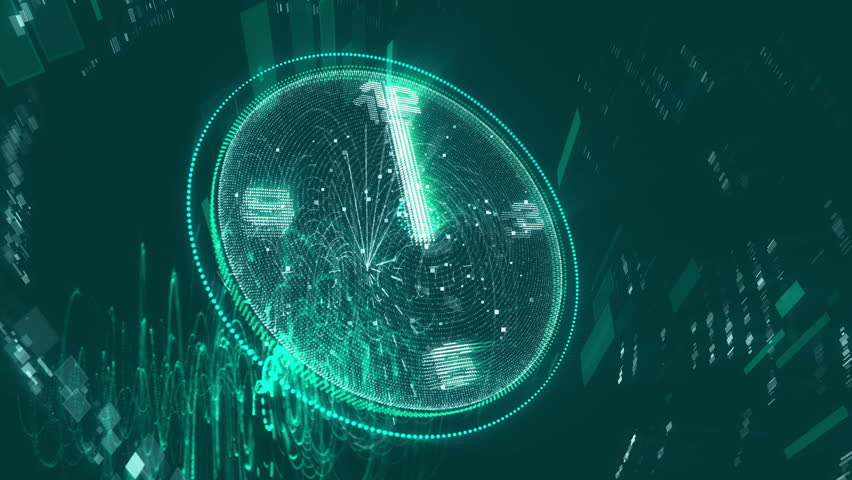 A marvelous 3d rendering of a brilliant blue and green clock changing its location cheerfully and optimistically with white second, minute and hour arrows turning fast around the clock. .