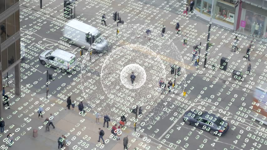 Phone signal in a data matrix city.  Visualization of a radio signal coming from a mobile phone in a data filled scene. | Shutterstock HD Video #1011764354