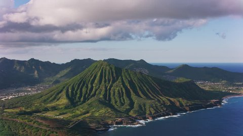 Oahu, Hawaii circa-2018. Aerial view of Koko Head Crater. Shot with Cineflex and RED Epic-W Helium.
