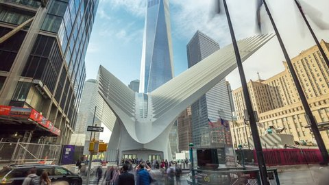NEW YORK - MAY, 2018: timelapse of Oculus, WTC transportation hub on Manhattan in NYC sunny day, 911