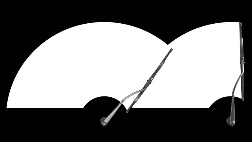 Two windscreen wipers on white with alpha channel mask, seamless loop 3d animation | Shutterstock HD Video #1011772634