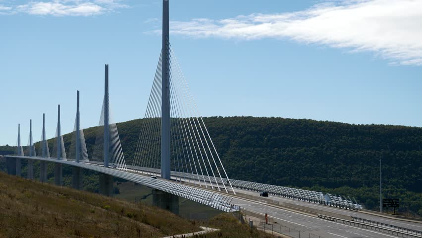 The Millau Viaduct over the River Tarn gorge valley near Millau in southern France. The bridge carries road traffic on the A75 autoroute.