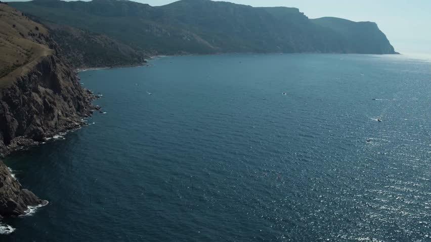Black sea. Crimea. Aerial view of Crimean coast. Balaklava bay, view to rocks.