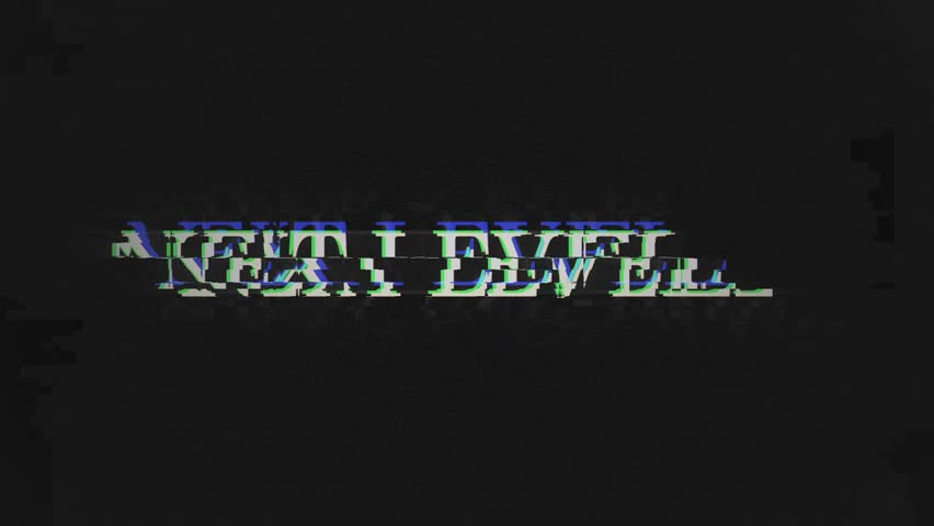 NEXT LEVEL. retro videogame press start text words on old tv vhs glitch interference screen ... New quality universal vintage motion dynamic animated background colorful joyful cool video footage