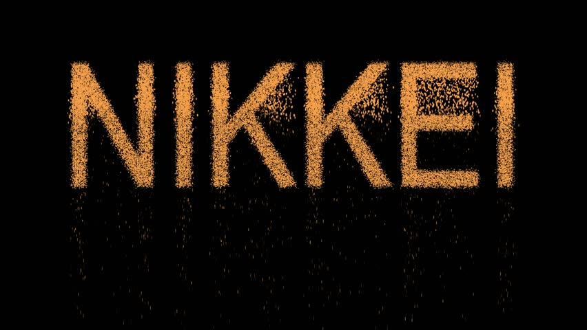 World stock index NIKKEI appears from the sand, then crumbles. Alpha channel Premultiplied - Matted with color black | Shutterstock HD Video #1011899654