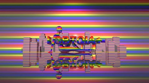 LGBTQIA+ Community Gay Pride LGBT Mardi Gras graphic title 3D render. The letters LGBT & LGBTQIA refer to lesbian, gay, bisexual, transgender, queer or questioning, intersex, and asexual or allied.