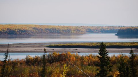 The MacKenzie River intersects with the Liard River near Ft. Simpson in the Northwest Territories. Shot in mid September.