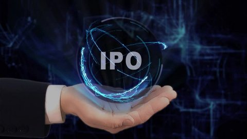 Painted hand shows concept hologram IPO on his hand. Drawn man in business suit with future technology screen and modern cosmic background