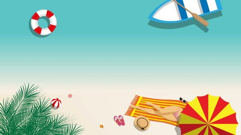 seamless cartoon footage of sexy girl in bikini sunbathing on the beach with beach umbrella and beach fashion accessory at tropical country in summer season. summer footage background concept
