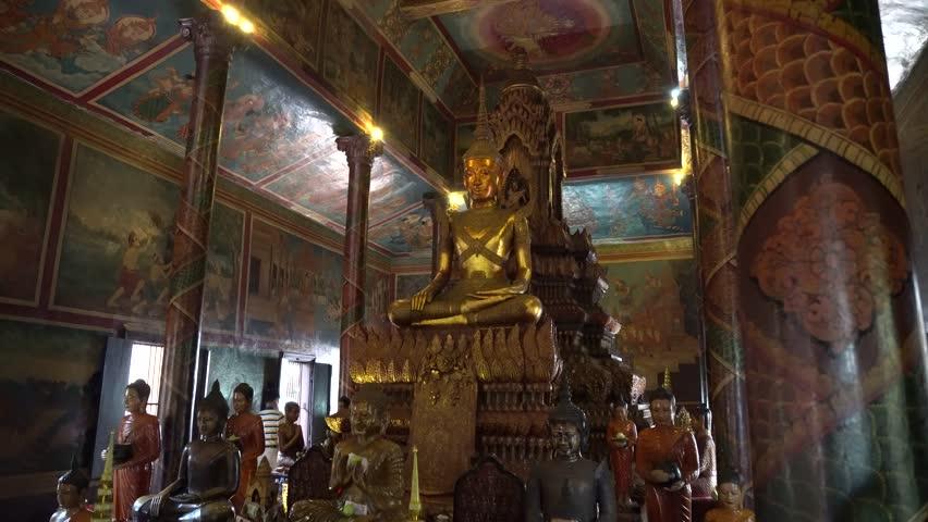 PHNOM PENH, CAMBODIA - AUGUST 24, 2017: Inside the Wat Phnom temple in Phnom Penh, Cambodia. Beautiful view of center in Phnom Penh, Cambodia | Shutterstock HD Video #1011991604