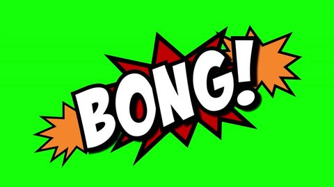 A comic strip speech cartoon animation with an explosion shape. Words: Bong, Bonk, Sock. White text, red and yellow spikes, green background.