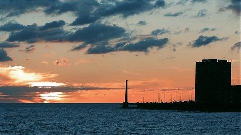 Montevideo Seashore Sunset. Boardwalk of Montevideo at Sunset (Uruguay). Zoom In.