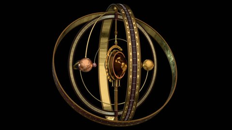 3D model animation of an Armillary sphere in steampunk style. Ideal for Science fiction movies, TV shows, intro, news, commercials, retro, fantasy, steampunk related projects etc. Includes ALPHA MATTE