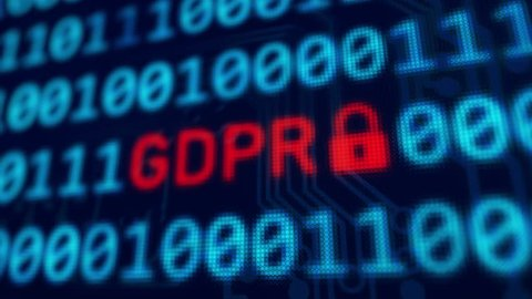 Personal data protection GDPR - red text between binary data background blue screen with depth of field in 4k