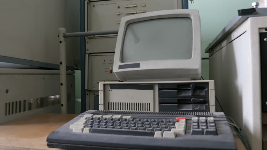 Retro, vintage computer. Old-style pc    Shutterstock HD Video #1012025444