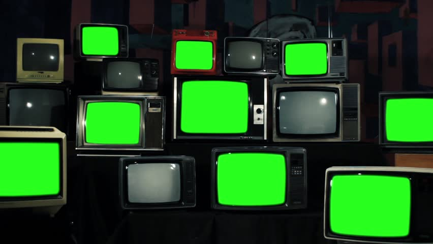 "Retro TVs Green Screen. TV Wall Multi-screen. Iron Tone. Zoom Out.  You can Replace Green Screen with the Footage or Picture you Want with ""Keying"" effect in After Effects. 