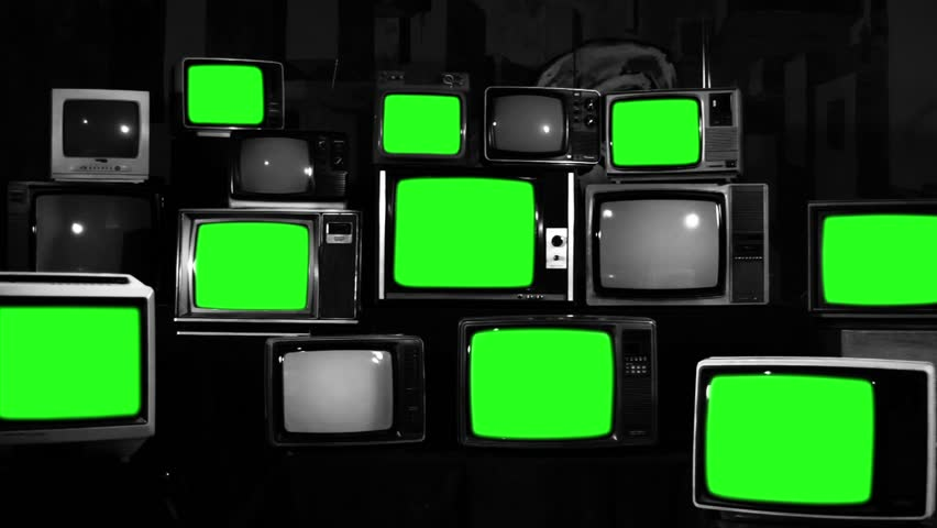 "Retro TVs Green Screen. TV Wall Multi-screen. Black and White Tone. Zoom Out.  You can Replace Green Screen with the Footage or Picture you Want with ""Keying"" effect in After Effects. 