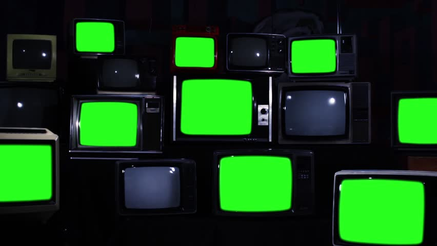 "Retro TVs Green Screen. Blue Dark Tone. Zoom Out. You can Replace Green Screen with the Footage or Picture you Want with ""Keying"" effect in After Effects (check out tutorials on YouTube).  
