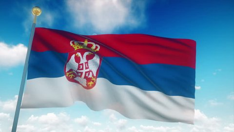 Serbia Flag Waving 3D Rendering Blue Sky Background - Seamless Loop 4K