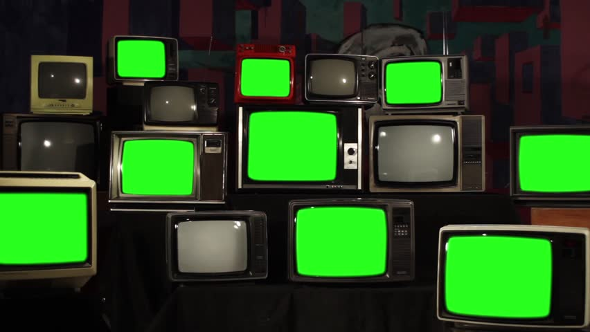 "80s TVs Turn Off Green Screen. Zoom Out. You can Replace Green Screen with the Footage or Picture you Want with ""Keying"" effect in After Effects (check out tutorials on YouTube).  