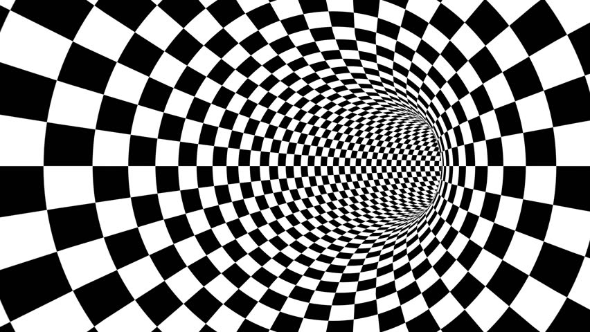 A mesmerizing 3d rendering of an optical illusion created by zoom in of black and white squares looking like a passage from chessboards creating the mood of magic and art.