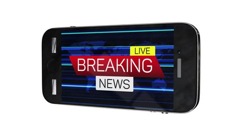 Smartphone with breaking news live motion banner on worldmap. Business technology world news background splash screen.