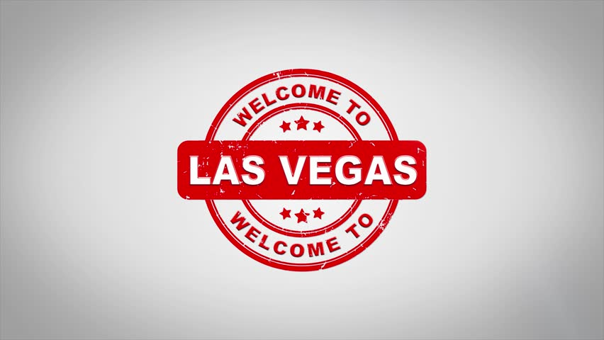 Welcome to LAS VEGAS  Signed Stamping Text Wooden Stamp Animation. Red Ink on Clean White Paper Surface Background with Green matte Background Included. | Shutterstock HD Video #1012126454