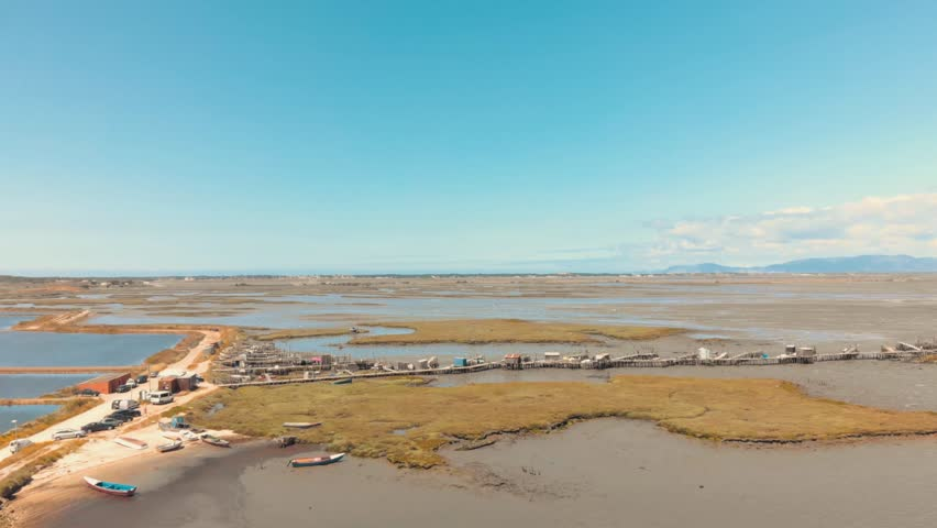 Aerial panoramic view of the Carrasqueira harbour in Comporta, Portugal.