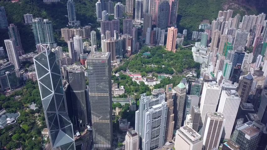 Central, Hong Kong 31 May 2018:-Drone fly over the Hong Kong city | Shutterstock HD Video #1012153244