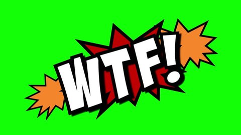 A comic strip speech cartoon animation with an explosion shape. Words: omg, wtf, lol. White text, red and yellow spikes, green background.