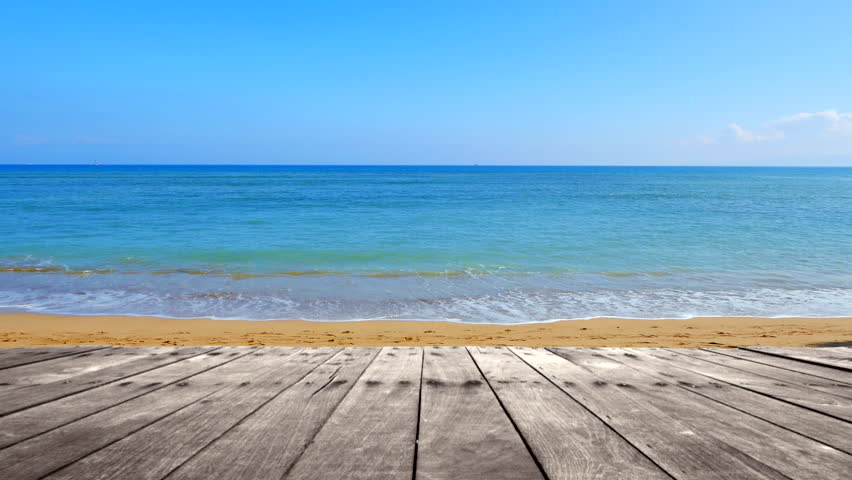 Beach Deck Wooden Table Sea Stock Footage Video 100