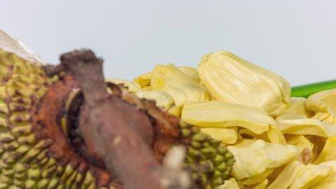 Fresh sweet Jackfruit segment ready for eat. Tropical fruit. Selective focus.